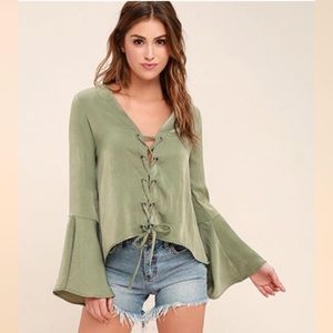 LuLus Slip Away Lace Up Bell Sleeve Top Olive M